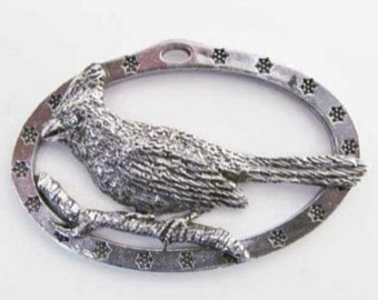 Pewter ~ Cardinal On Branch ~ Holiday Ornament ~ B105OR