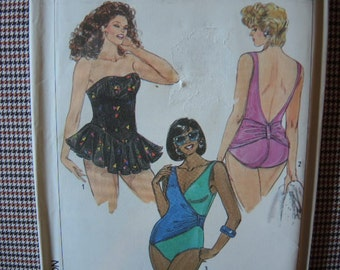 vintage 1980s Simplicity sewing pattern 9212 UNCUT bathing suit plus size 18W-24W