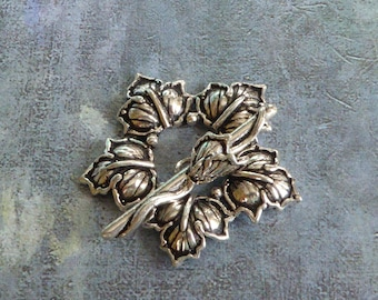 Leaf Wreath Clasp ~ Large Solid Sterling Silver