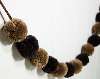 "Pom Pom Garland Cocoa Brown  (13)  2"" Pom Poms 6 feet long - Pom Banner - Pom Pom Garland -  Party Decoration Rustic Garland"
