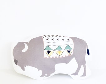 Buffalo, Buffalo Pillow, Gift, Baby Gift, Girl Gift, Boy Gift, Kid, Baby Shower Gift, Nursery Pillow, Grey, Gray Buffalo, Tribal Pillow