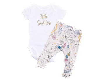 Goddess Bodysuit and Gypsy Leggings, Gypsy Leggings, Baby Leggings, Newborn Going Home Outfit, Organic Baby Clothes, Little Goddess Baby