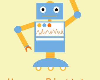 Blue Robot Birthday Card