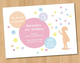 Rainbow Bubbles Birthday Party Invitation Digital Printable PDF template, instant download, Edit with Adobe Reader DIY