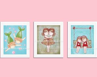 Kids wall art, nursery decor, nursery art, children art print, best friends, sisters, twin art, Gemini Set, 3 prints