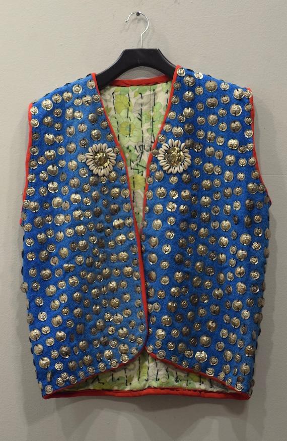 Vest Wedding Middle Eastern Blue Wool Silver Pendant Coin Vest