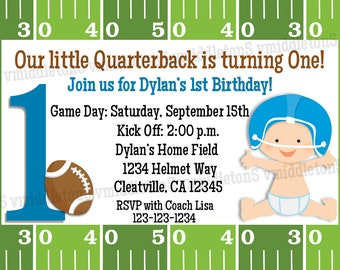 Football First Birthday Invitation Print Your Own 5x7 or 4x6