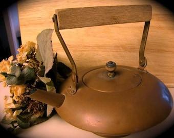PRIMITIVE  Copper Kettle with Wood Handle/ Copper Teapot Kettle /VINTAGE  Kettle