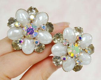 Vintage Clip-On Earrings with Glass Pearl Stones and AB Rhinestones