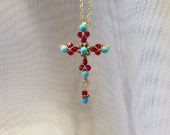 Turquoise cross etsy dainty cross turquoise cross cross pendant cross necklace jeweled cross beaded aloadofball Choice Image