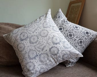 Grey Marine cushion cover handprinted