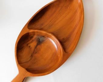 Vintage Wood Serving Dish Platter Leaf Shape