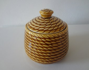 Small Brown Rope Design Ceramic Jar with Lid