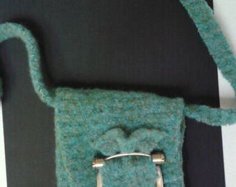 Felted Green purse with Fabulous Buckle