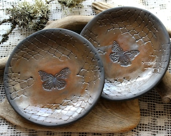 Ceramic plates with butterfly, Set of two plates, Pottery handmade, Serving plates, Handmade ceramics, Decorative plates, Kitchen dishes