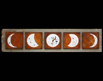 Lunar Cycle Mixed Media Original Painting, Reclaimed Barn Wood and Rust, Silver Leaf Moon - Cycles by BrittsFineArt