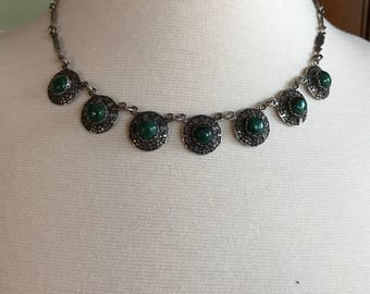 Green Tribal Sterling Necklace -- 33