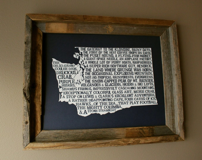 Washington In A Nutshell Word Art Map Print (Dark Blue) - Unframed