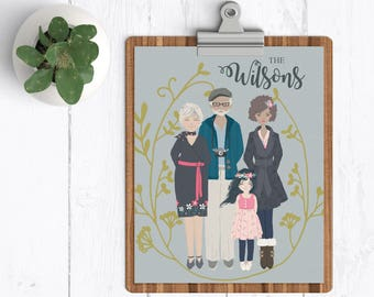Personalized Family Portrait, Custom Family Portrait, Personalized Wedding Gift, Anniversary Gift, House Warming Gift, Mother's Day Gift