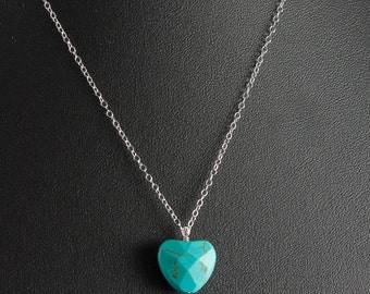 Turquoise Heart Necklace, Turquoise Heart Bead and Sterling Silver Fine Chain, Simple Dainty Necklace