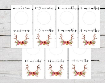 Floral Printable Baby Nursery Closet Dividers, Printable Baby Clothes Organizer, Printable Baby Clothes Dividers