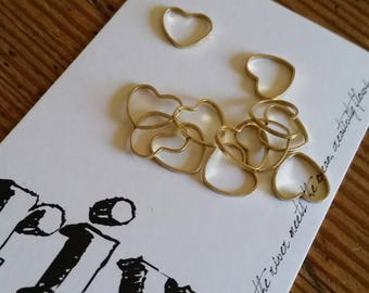 Worsted Small Stitch Markers | Snag Free Stitch Markers | Snagless Stitch Markers | Simple Brass Metal Heart Stitch Markers | Baby Heart