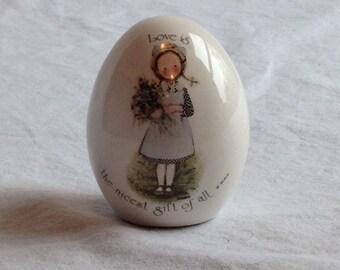 Holly Hobbie Egg - Vintage ceramic Holly Hobbie Egg - girl with braids - 1970's Holly Hobbie - Kitschy Holly Hobbie Egg