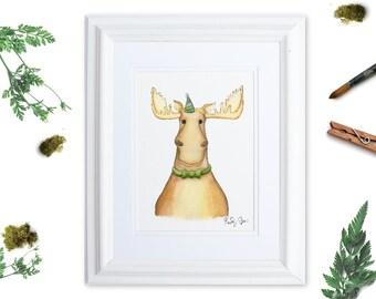 Woodland Nursery Art, Party Animal Nursery Wall Art, Watercolor Moose Print, Gender Neutral Baby, Kids Room Decor, Whimsical Animal Art