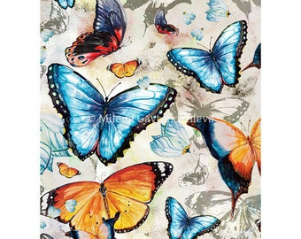 Butterfly art print by original watercolor illustrations, bright orange pattern, red, yellow, deep blue, grey 30x40cm(app. 11.8x15.8')