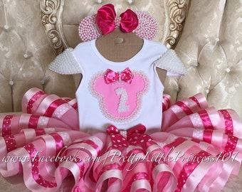 Minnie Mouse outfit, Minnie Mouse set, Minnie Mouse Dress, My Birthday outfit, My First Birthday set, size Newborn-12 Girl