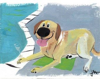 Custom Cartoon Stylized Pet Caricature Painting with Background, Original Pet Painting, 5x7""