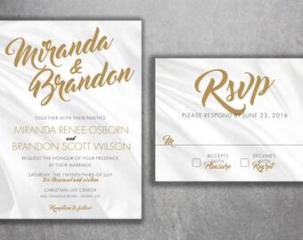 Cheap Wedding Invitation, Wedding Invitation, Classic Wedding Invitation, Gold and Silver Wedding Invitation, Rustic, Winter, Affordable