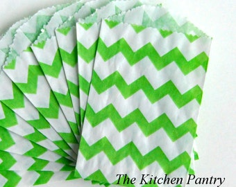 Mini Paper Favor Bags - Green Chevron   -  Treat Bags - 2 Dozen - Gifts, Packaging, Retail