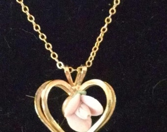 Vintage Gold Heart Necklace with Rose