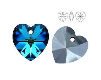 Swarovski Elements, 6228, Heart, Bermuda Blue, 10mm, 14mm, Swarovski Heart, Swarovski crystal, Turquoise crystal, Turquoise Heart