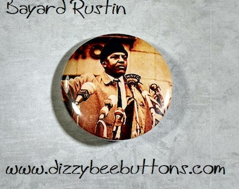 """Bayard Rustin 1.25"""" or 1.5"""" Pinback Button Keychain Magnet - Historical Figures - Civil Rights Hero"""