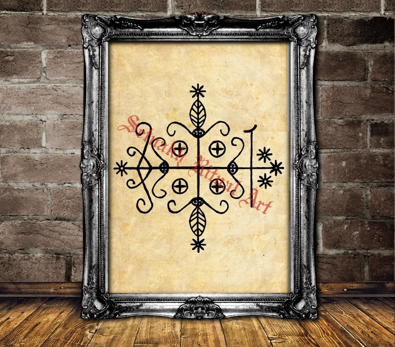 Papa Legba veve altar decor Voodoo art print magic