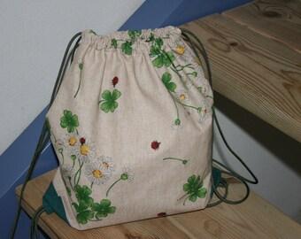 Drawstring Bag, Teenager Handmade Bag, Handmade Gift, Cycling Bag, Back Bag,Draw String Bag,