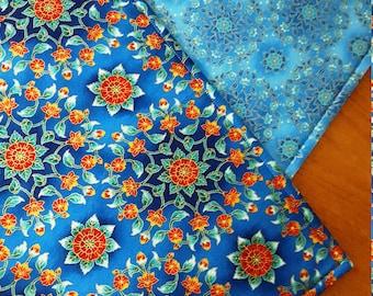 Blue Placemats  - Reversible Floral Placemats - Abstract Placemats - Suzani Placemats - Medallion Placemats - Heat Resistant - Set of 2