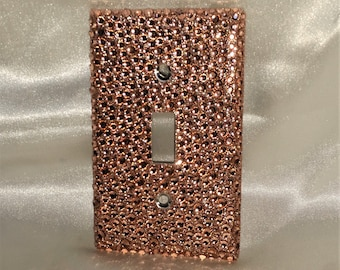 Bling Rose Gold Bronze Glitter Single Toggle Light Switch Plate Cover with Rose Gold Bronze RHINESTONES Wallplate