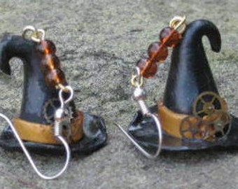 Steampunk Witches Hat Earrings