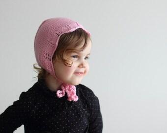 knit baby bonnet, merino bonnet, autumn bonnet, spring bonnet, winter bonnet, pink bonnet, newborn bonnet, toddler bonnet, girls bonnet