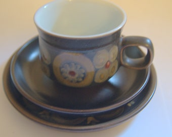 Denby Pottery Arabesque trio cup saucer and  side plate