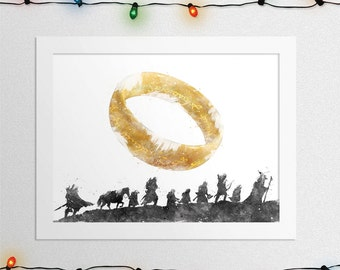Lord Of The Rings, Fellowship Of The Ring, Lord Of The Rings Print, The One Ring,  Fellowship Of The Ring Print, Watercolor, Digital File