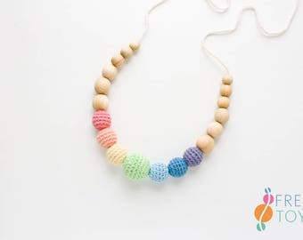 ORGANIC COTTON Teething Necklace for Mom - Pastel Rainbow - Wood Necklace, Teething Beads, Breastfeeding, New Baby Gift - NB03