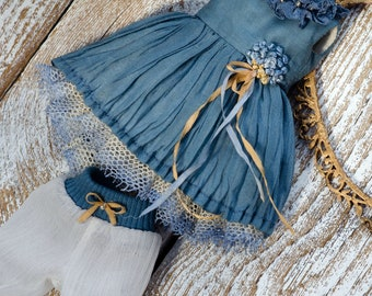 Outfit for Blythе/Blythe Clothing /vintage style Blythe dress/  Blythe dress/ blythe dress blue/ dress for blythe with lace