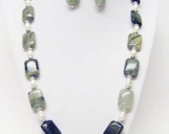 Rectangle Sea Weed Quartz Beads w/Fresh Water Pearls Necklace/Earrings Set