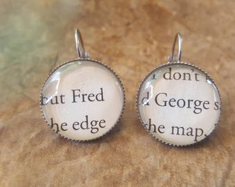 Harry Potter Fred and George book page earrings