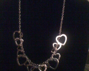 Solid 925 Sterling Silver Heart Necklace.  18 inches