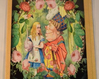 Victorian Original Tenniel Print Queen of Hearts Alice in Wonderland Folded Greeting Card with Envelope on Eco Friendly Brown Craft Paper